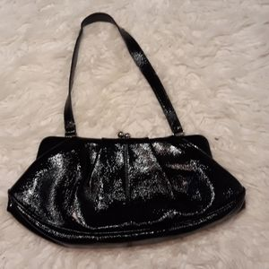 Patent leather hinge clasp purse